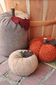 Upcycled Cable Knit Sweater Pumkins. Maybe we could make mini ones as decorations?