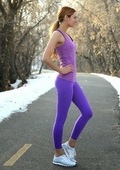 Yeah my sister @Jackie Welling [ Little J Style ] is cute......   Purple workout wear. #fitness #workout #exercise