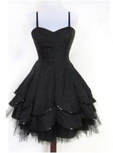 Simple Sweetheart Knee-Length Black Homecoming Dress with Sequins Ruffles