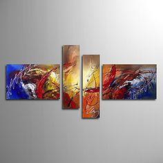 Hand geschilderd olieverfschilderij Abstract zwaai met gestrekte frame set van 4 – EUR € 98.99
