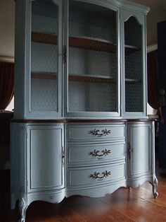 Lightly Distressed French Country Hutch in a French Grey-Blue with Wood Top and Antiqued Chicken Wire