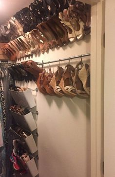 Organized shoe storage without using an inch of precious floor space – IKEA Hackers Organized shoe storage without using an inch of precious floor space – IKEA Hackers,Diy IKEA shoe organizer without using an. Ikea Shoe Storage, Hanging Shoe Storage, Hanging Shoes, Laundry Room Storage, Closet Storage, Diy Storage, Budget Storage, Garage Storage, Wall Storage