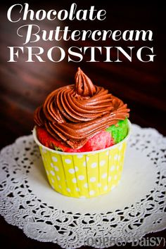 Chocolate buttercream frosting--with hot chocolate! #recipe #chocolate #frosting