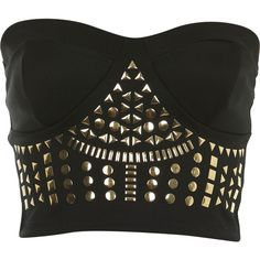 Stud Bandeau Bra Top ($26) ❤ liked on Polyvore featuring tops, shirts, bustier, blusas, black, studded bra top, black shirt, black bandeau top, bandeau bra tops and shirts & tops