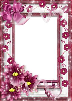 Beautiful Flower Frame with Pink Bow Unique Picture Frames, Cute Frames, Picture Borders, Boarders And Frames, Printable Frames, Scrapbook Frames, Birthday Frames, Christmas Frames, Frame Clipart