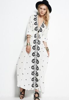 2303ce8a239d67 White V Neck Embroidered Maxi Dress 32.67 Hippie Dresses