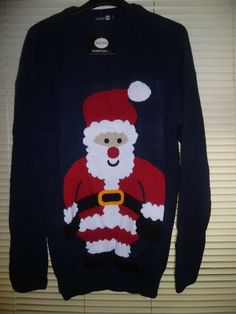 30cd436f6 Boohoo Navy Blue BIG & TALL Santa Christmas Jumper Size 3XL - XXXL BNWT  #fashion