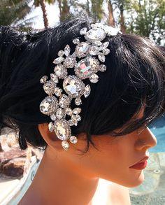 Rhinestone Headband Bridal Headband  Large by JuliesofLasVegas, $89.95