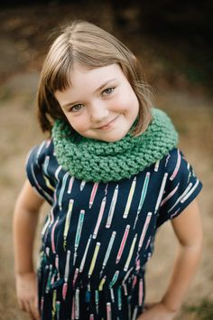 Hand Crocheted Wool Cowl Scarf youth: Emerald by RedWingLaneFibers
