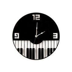 Large Wall Clock Laser Cut Acrylic Piano Keys Music Clock Black Clock Modern Keyboard Instruments Music Notes Gift Idea Decor Musician