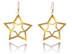 ORECCHINI CON STELLE DORATI  Orecchini in argento 925 bagnati in oro giallo con pendenti a forma di stelle. pendente mm 7 x 7.  Prices: $80.21