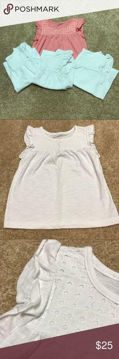 Lot of 4 eyelet, flutter-sleeve t-shirts. SZ 4T Lot of 2 pair of striped Leverett girls SZ 4 pjs. Three white and one coral Cherokee Shirts & Tops Tees - Short Sleeve