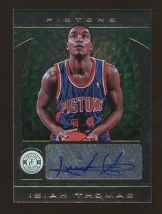 54791a8832d 2013-14 Totally Certified Green Isiah Thomas Pistons HOF AUTO 1/2  Basketball Cards