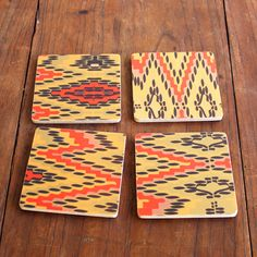 Hand Painted Flame Stitch Birch Coasters