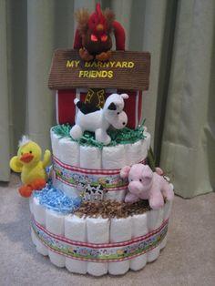 farm animals diaper cake | Farm Barnyard Diaper Cake for Baby