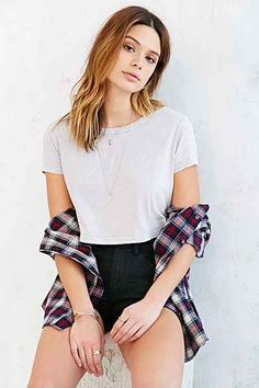 Truly Madly Deeply Cropped Mineral Wash Tee - Urban Outfitters
