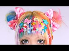 Kawaii DECORA Hairstyle TUTORIAL by Japanese designer Haruka Kurebayashi | 紅林大空デコラヘアメイク講座 - YouTube