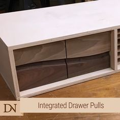 Furniture Craft Plans 676877018973637753 - This is a technique I used to create two-tone drawer fronts with the pulls built into the design. I used a core box bit and a pin router jig to make it work. Woodworking Bench Plans, Router Woodworking, Woodworking Techniques, Woodworking Furniture, Woodworking Projects, Diy Furniture, Woodworking Classes, Woodworking Machinery, Woodworking Videos