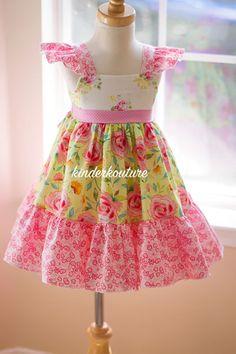 Pretty yellow and pink girls handmade dress.
