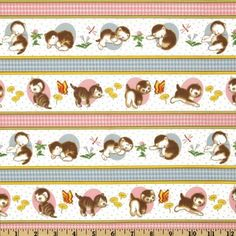 Amazon.com: 44'' Wide Little Golden Books The Shy Little Kitten Stripes Off White/Multi Fabric By The Yard