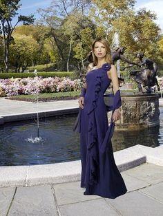 Purple One Strap Flower Floor Length Elegant Fashion Mother Of Brides Dress