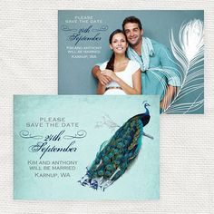 vintage peacock wedding save the date or by idoityourself on Etsy, $20.00