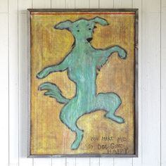 "DOGGONE HAPPY FRAMED PRINT -- Because everyone is cheered by canine friends, Rebecca Puig offers this joyful pup for adoption. Framed in reclaimed barnwood, the wood print declares, ""You make me so Dog Gone Happy."" Made in USA. 35""W x 47""H."