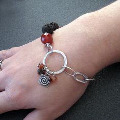 Sterling silver chain bracelet with brown lava by applenamedD