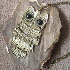 Large gold owl necklace Long brass alloy chain. Brand new. Jewelry Necklaces