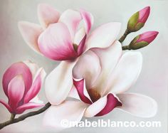 Photo from album Flowers Nature, Beautiful Flowers, Watercolor Flowers, Watercolor Paintings, Flower Artists, Magnolia Flower, Flower Pictures, Fabric Painting, Botanical Art