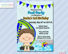 Pool Party Birthday Invitations Boys (240) | lullabyloo - Cards on ArtFire