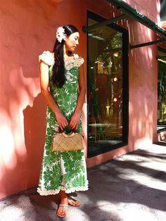 Nahenahe Ruffle Long Dress [Hibiscus Panel/ Green]