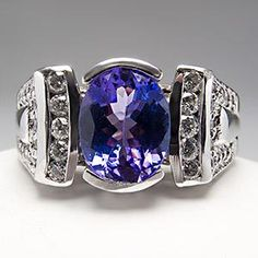 tanzanite+rings+white+gold | ... Tanzanite & Diamond Cocktail Ring Bezel Set 14K White Gold - EraGem