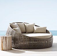 Barts Daybed from Restoration Hardware Patio Daybed, Outdoor Daybed, Outdoor Seating, Outdoor Decor, Outdoor Living, Outside Furniture, Pool Furniture, Furniture Design, Outdoor Furniture