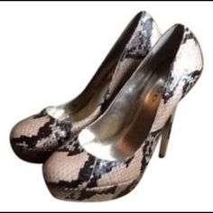 BEBE PYTHON SNAKESKIN PLATFORM PUMPS sz 7, NWOT New , never worn, BEBE sz 7  black and tan python pumps. Really amazing!  Great Gift!  Will ship right away.  CHECK OUT MY OTHER DESIGNER ITEMS bebe Shoes Heels