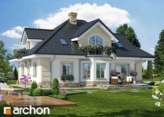 Projekat kuće sa potkrovljem i garažom – Archon 4 Project of a house with attic and garage - Archon Classic House, Home, Bungalow Floor Plans, House Exterior, Cool House Designs, Architectural Design House Plans, House Designs Exterior, Beautiful House Plans, Classic House Design