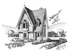 Gothic Revival House Plan with 965 Square Feet and 2 Bedrooms from Dream Home Source | House Plan Code DHSW53776