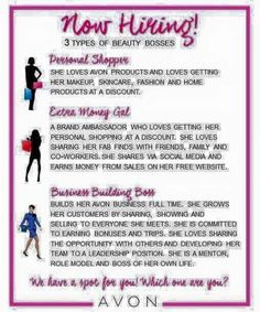 Have you heard about the New Avon? It's better then ever . You choose which type of Beauty Boss you want to be then get started by going to  start.youravon.com/sa/personal.page   Use Avon Reference code: BBUDKA