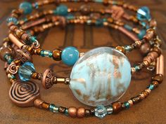 Copper Wrap Bracelet Like the large focal stone; it helps the design look like more of a statement piece.