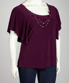 Take a look at this Plum Cape-Sleeve Top & Necklace - Plus by Star Vixen on #zulily today!
