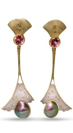 Earrings with Tourmaline & Pearls by Rika Jewelry Design |  Remarkable pair of earrings with mabe pearls and tourmaline set in 18 kt yellow gold and palladium.