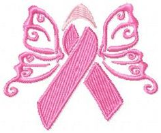 Awareness Butterfly Sew out in whatever color you need to use. #machine embroidery design #breast cancer #awareness ribbon