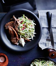 Slow-roasted lamb shoulder with Brussels sprout slaw recipe :: Gourmet Traveller