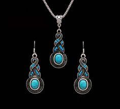 Vintage Tibetan Silver CZ Crystal Chain Pendant Necklace & Earrings Set (Turquoise)