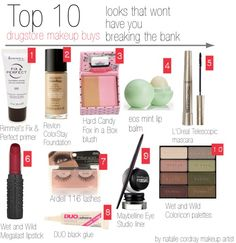 """Top 10 drugstore makeup buys"" by nataliecordray on Polyvore"