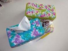 Crochet tissue box covers