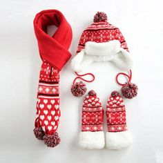 Women Snowflake hat scarf and gloves set for winter fleece design