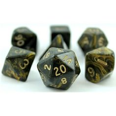 Ancient Dice | RPG Dice Set (Ancient Black and Gold) roleplaying game dice + bag