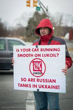 There are Russian tanks in Ukraine! Boycott Lukoil, boycott war!
