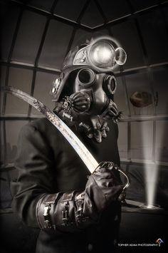 Defender gas mask in black Steampunk. $425.00, via Etsy.